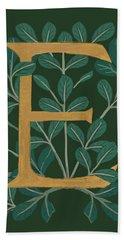 Forest Leaves Letter E Bath Towel