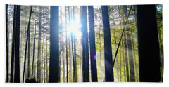Forest Light Rays Bath Towel