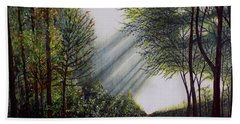 Hand Towel featuring the painting Forest Pathway by Judy Kirouac