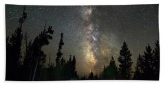 Hand Towel featuring the photograph Forest Road Milky Way Night Cruising by James BO Insogna