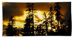 Hand Towel featuring the photograph Forest Sunset  by Nick Gustafson