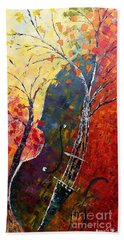 Bath Towel featuring the painting Forest Symphony by AmaS Art
