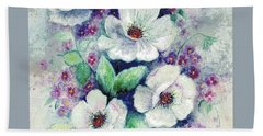 Bath Towel featuring the painting Forget-me-knots And Roses by Hazel Holland