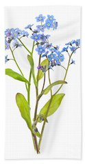 Forget-me-not Flowers On White Bath Towel