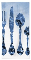Fork Knife And Spoon-blue Hand Towel