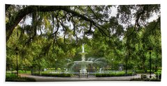 Forsyth Park Fountain Historic Savannah Georgia Hand Towel by Reid Callaway