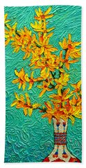 Forsythia Vibration Modern Impressionist Flower Art Palette Knife Oil Painting By Ana Maria Edulescu Bath Towel