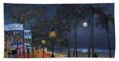 Fort Lauderdale Beach At Night Hand Towel