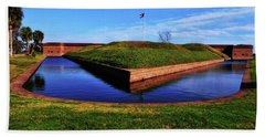 Fort Pulaski Moat - Demilune Wall 001 Hand Towel by George Bostian