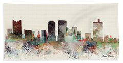 Fort Worth Texas Skyline Hand Towel
