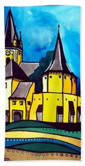 Hand Towel featuring the painting Fortified Medieval Church In Transylvania By Dora Hathazi Mendes by Dora Hathazi Mendes