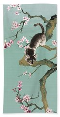 Fortune Cat In Cherry Tree Hand Towel
