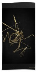 Hand Towel featuring the digital art Fossil Record - Gold Pterodactyl Fossil On Black Canvas #1 by Serge Averbukh