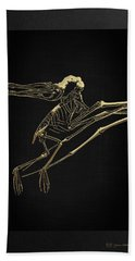 Hand Towel featuring the digital art Fossil Record - Gold Pterodactyl Fossil On Black Canvas #2 by Serge Averbukh