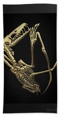 Hand Towel featuring the digital art Fossil Record - Gold Pterodactyl Fossil On Black Canvas #3 by Serge Averbukh