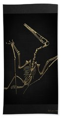 Hand Towel featuring the digital art Fossil Record - Gold Pterodactyl Fossil On Black Canvas #4 by Serge Averbukh