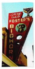Foster's Bighorn Cafe Bath Towel by Sadie Reneau
