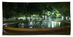 Fountain At Night Hand Towel