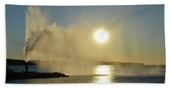 Bath Towel featuring the photograph Fountain At Sunrise  by Lyle Crump