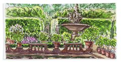 Bath Towel featuring the painting Fountain Island Boboli Gardens Florence Italy by Irina Sztukowski