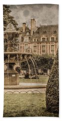 Paris, France - Fountain, Place Des Vosges Hand Towel