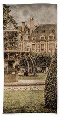 Paris, France - Fountain, Place Des Vosges Bath Towel