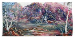Hand Towel featuring the painting Fountain Springs Outback Australia by Ryn Shell