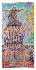 Hand Towel featuring the painting Fountain Square  Cincinnati  Ohio by Diane Pape