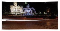 Fountaine De Tourny And Quebec Parliament Bath Towel by John Schneider