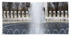 Fountains At The World War II Memorial In Washington Dc Hand Towel