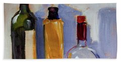 Hand Towel featuring the painting Four Bottles by Nancy Merkle