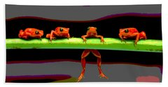 Four Frogs Hand Towel by Charles Shoup