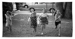Four Girls Racing, 1972 Hand Towel