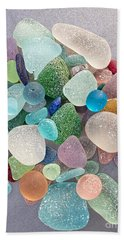 Four Marbles And A Rainbow Of Beach Glass Bath Towel