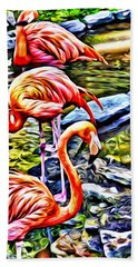 Four Pink Flamingos Hand Towel