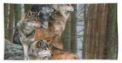 Bath Towel featuring the painting Four Wolves by David Stribbling