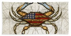 Bath Towel featuring the painting Fourth Of July Crab by Charles Harden