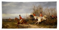 Fox Hunting Scene Hand Towel