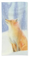 Bath Towel featuring the painting Fox In The Snow by Taylan Apukovska