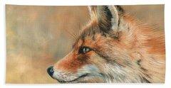Fox Portrait Bath Towel by David Stribbling