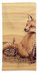 Fox Pup Bath Towel by Ron Haist