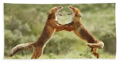 Fox Trot - Red Foxes Fighting Bath Towel