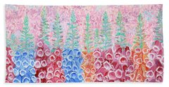 Foxgloves Hand Towel by Elizabeth Lock