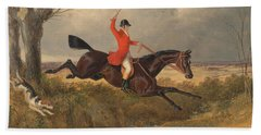 Foxhunting Clearing A Ditch Hand Towel