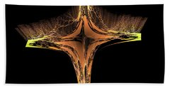 Hand Towel featuring the digital art Fractal Cross Golden And Yellow by Matthias Hauser