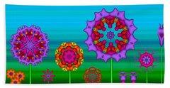 Whimsical Fractal Flower Garden Hand Towel