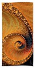 Hand Towel featuring the digital art Fractal Spiral Orange And Brown by Matthias Hauser