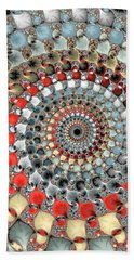 Fractal Spiral Red Grey Light Blue Square Format Bath Towel