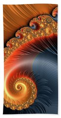 Hand Towel featuring the digital art Fractal Spiral With Warm Orange And Red Tones by Matthias Hauser