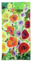 Bath Towel featuring the painting Framed In Hollyhocks by Kathy Braud